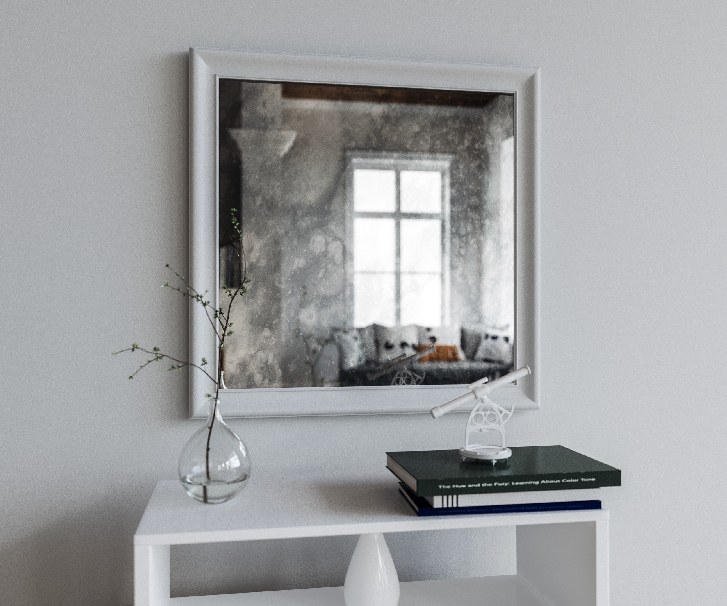 Square Mirror with White Frame