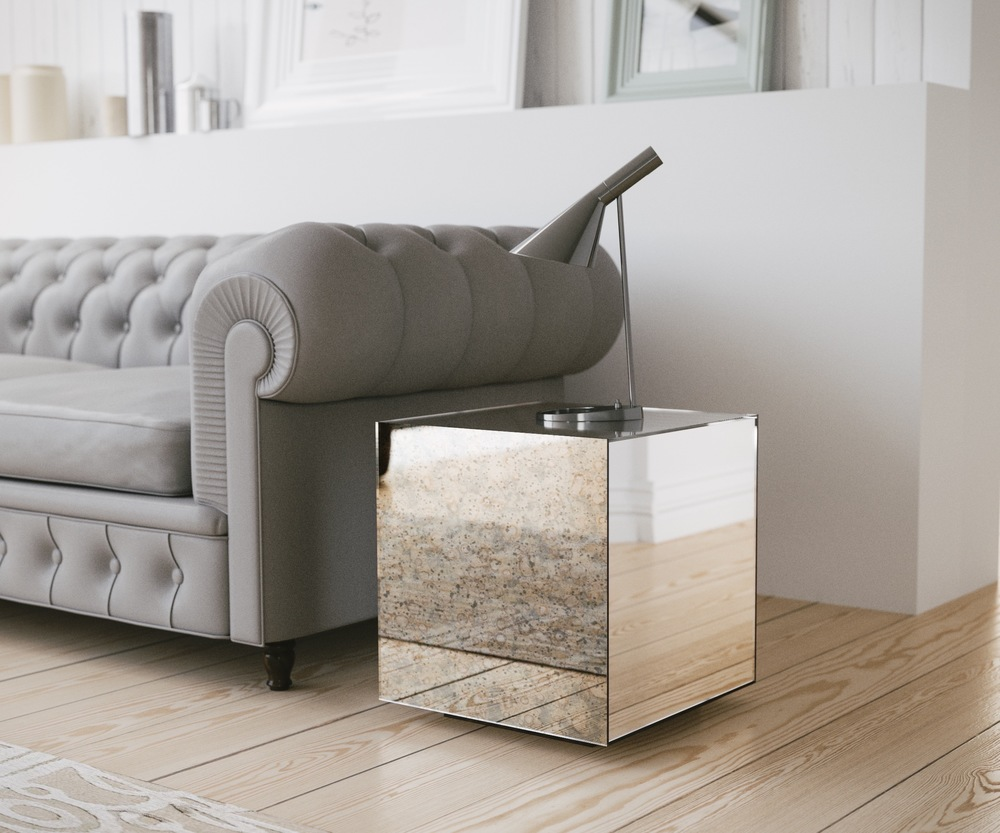 mirror accent table. side view of accent table mirror