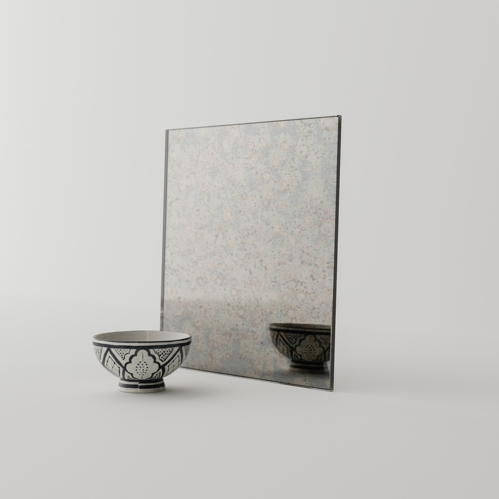 European Style Antiqued Mirror Photographed in Our Studio
