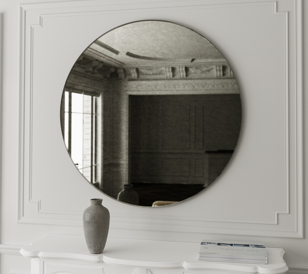 Subtle green antiqued mirror