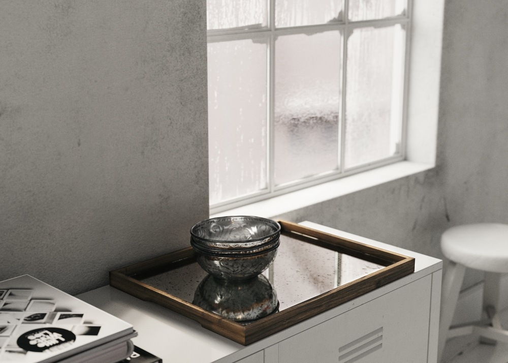 antiqued Mirror Tray