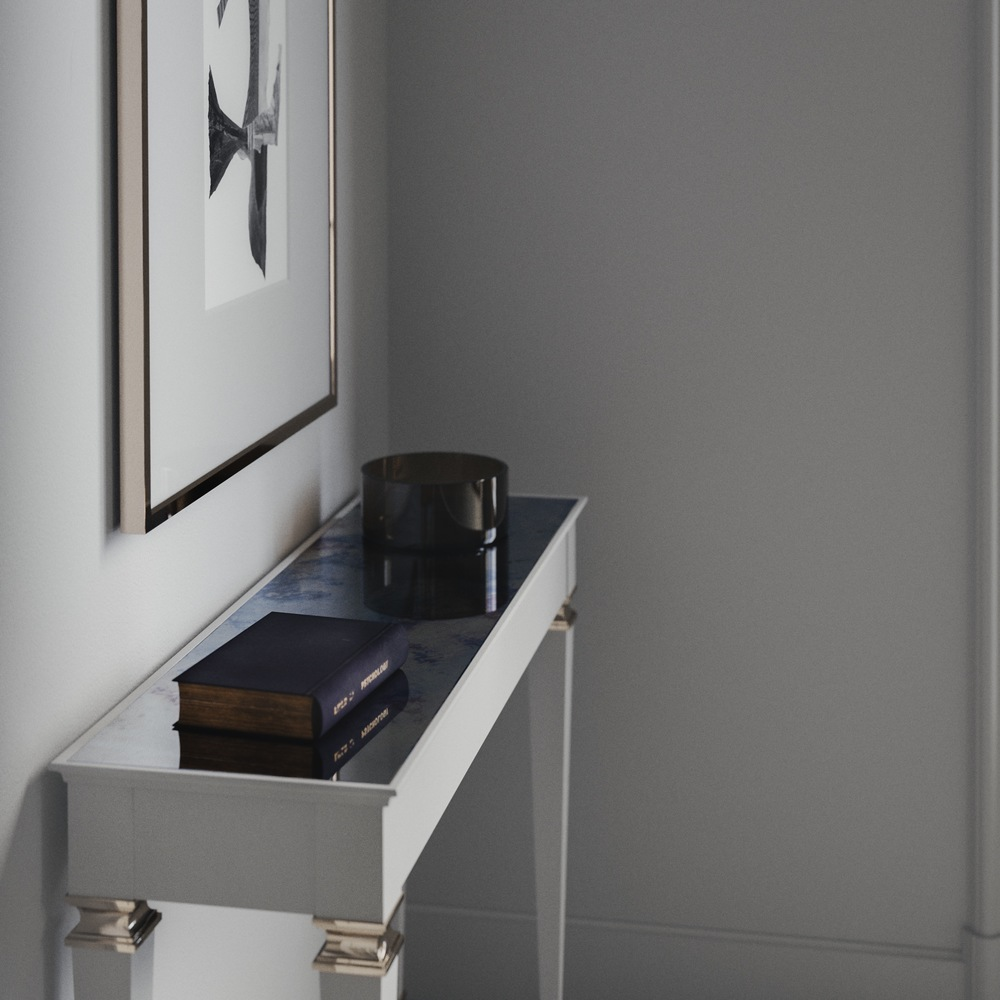 Side view of Antiqued mirrored console