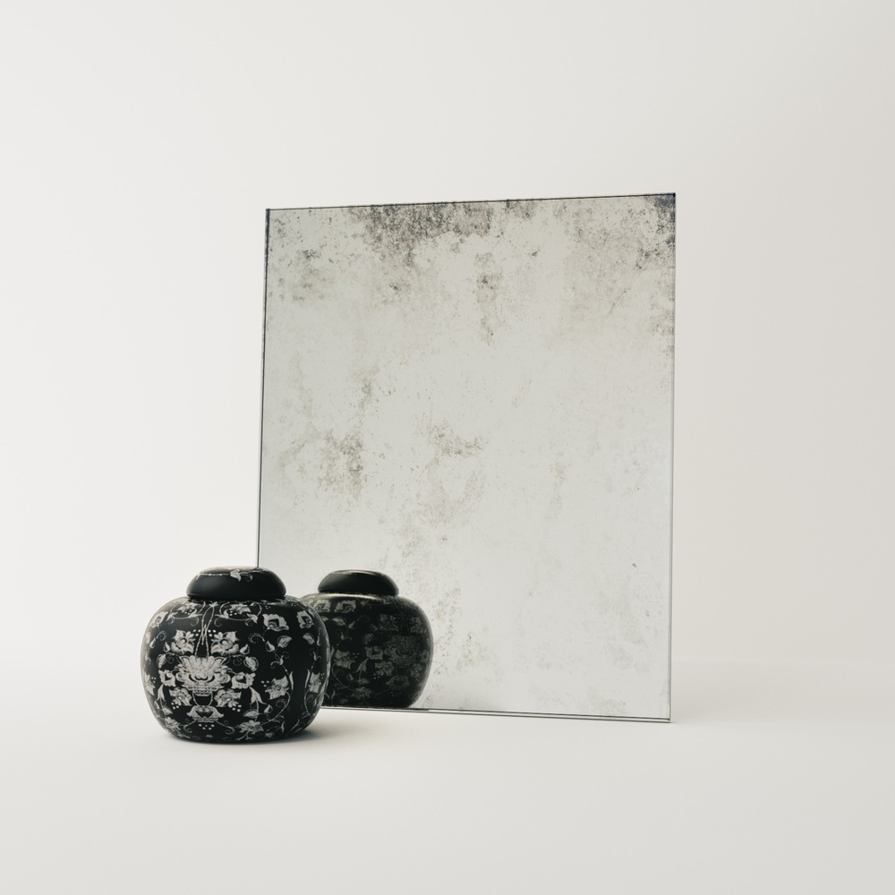 Swatch of Subtle Antiqued Mirror Photographed in our LA Studio