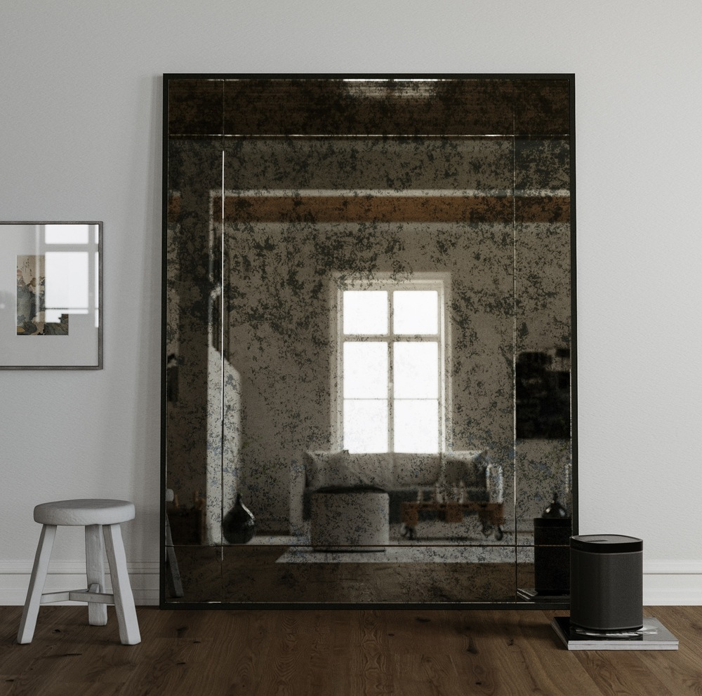 Full Size 60 x 40 Antiqued Leaning Mirror