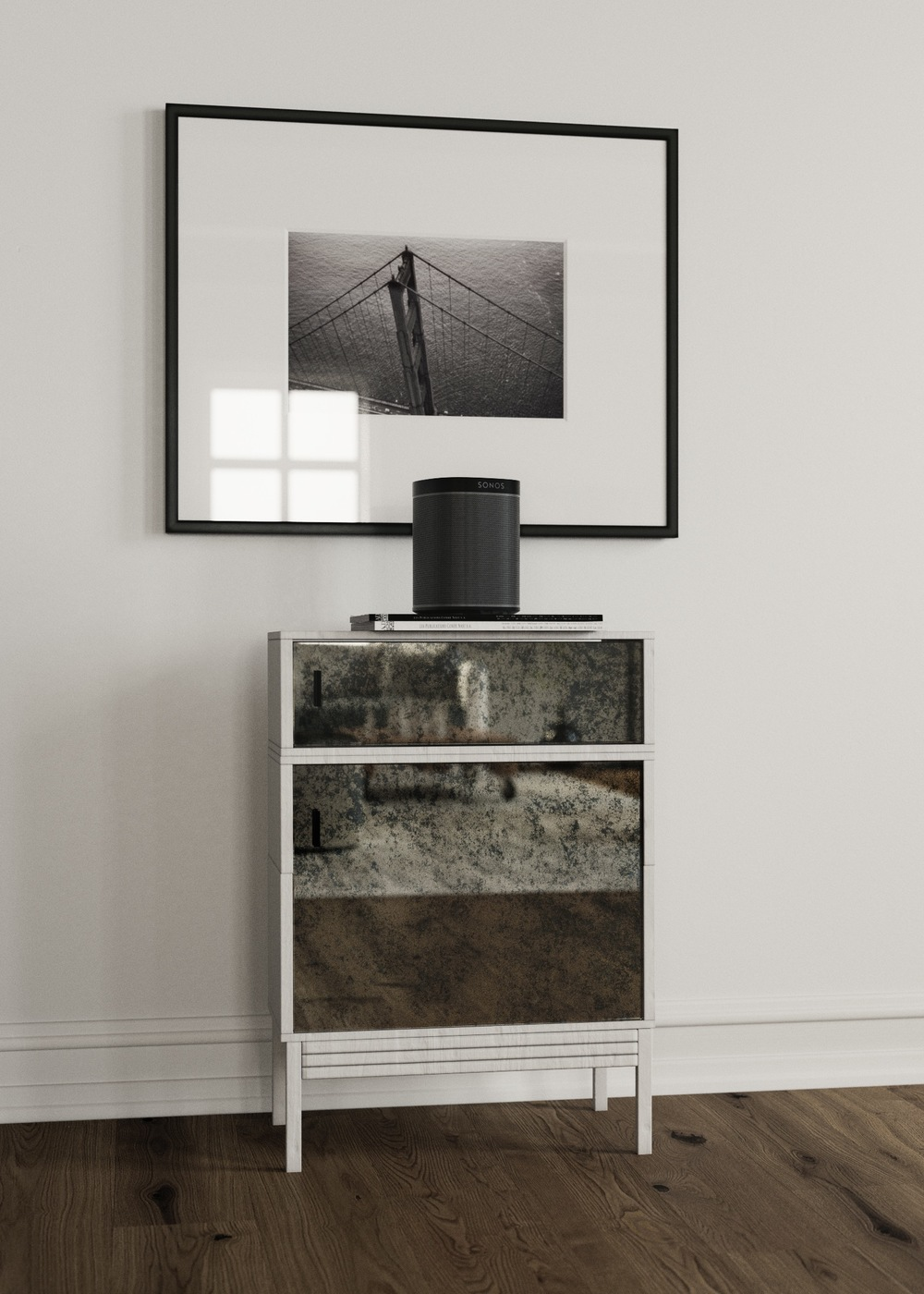front view of mirrored cabinet
