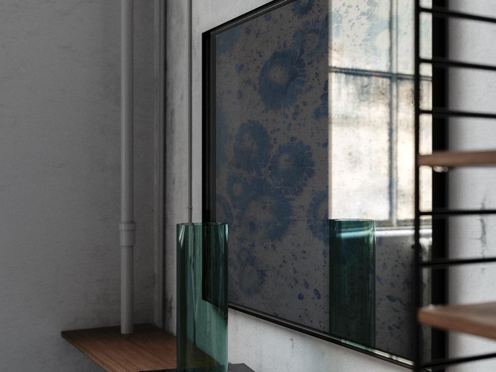 Similar mirror with Blue Finish