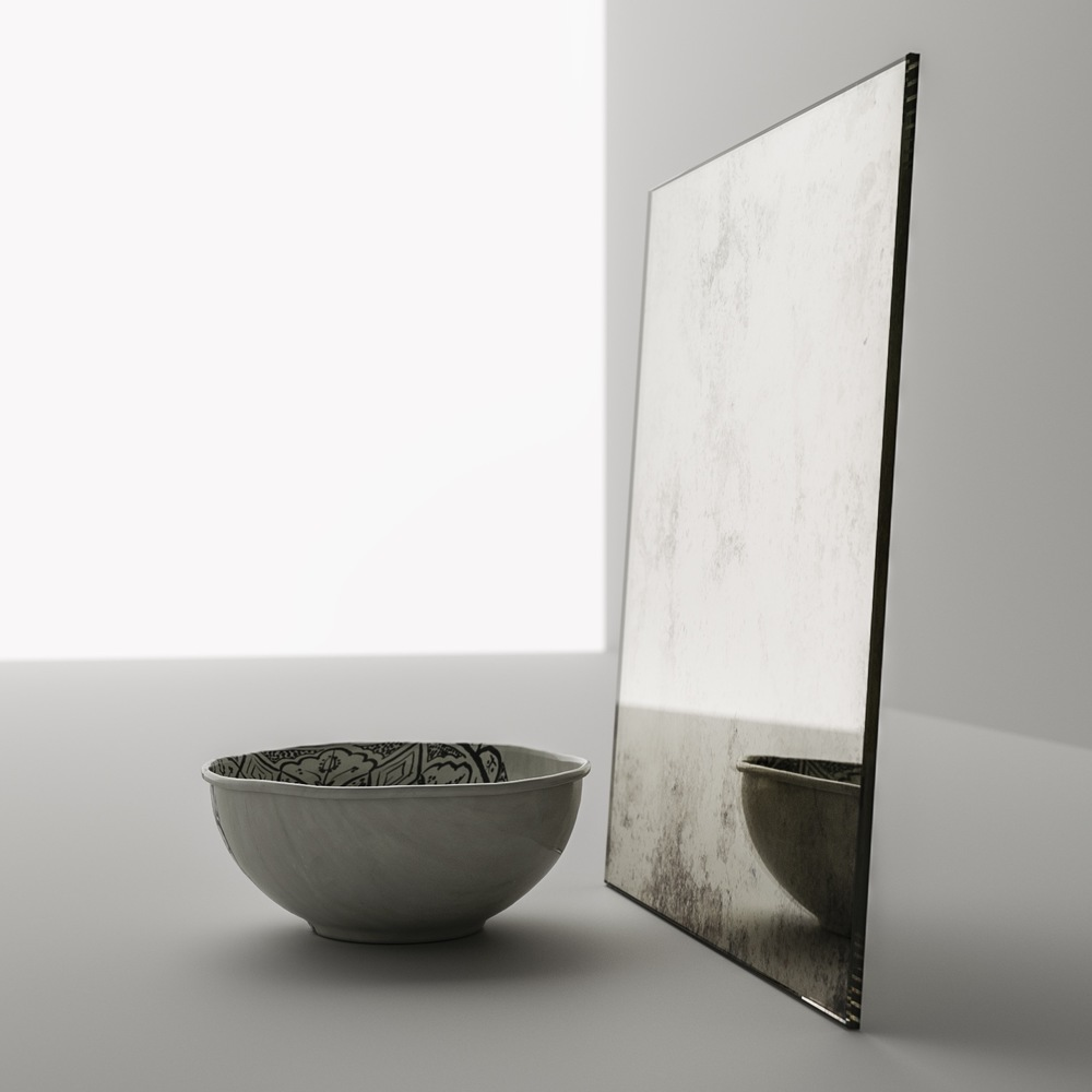 Side view of light antiqued mirror