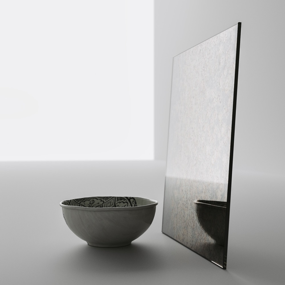 Side photo of antiqued mirror