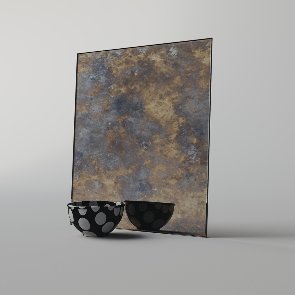 flame antiqued mirror