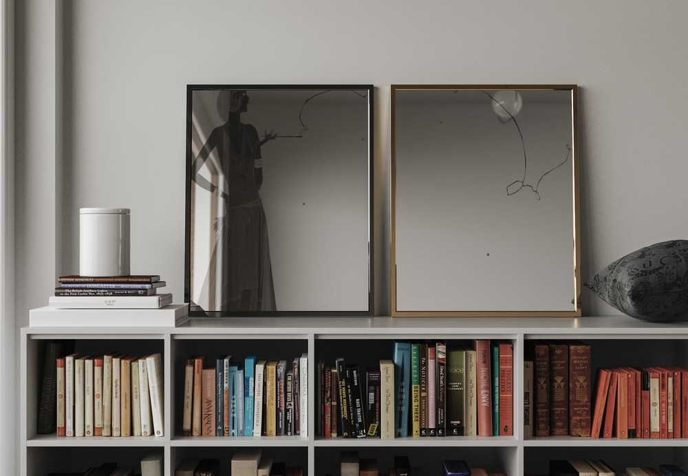 Deco Wall Mirrors on book shelf