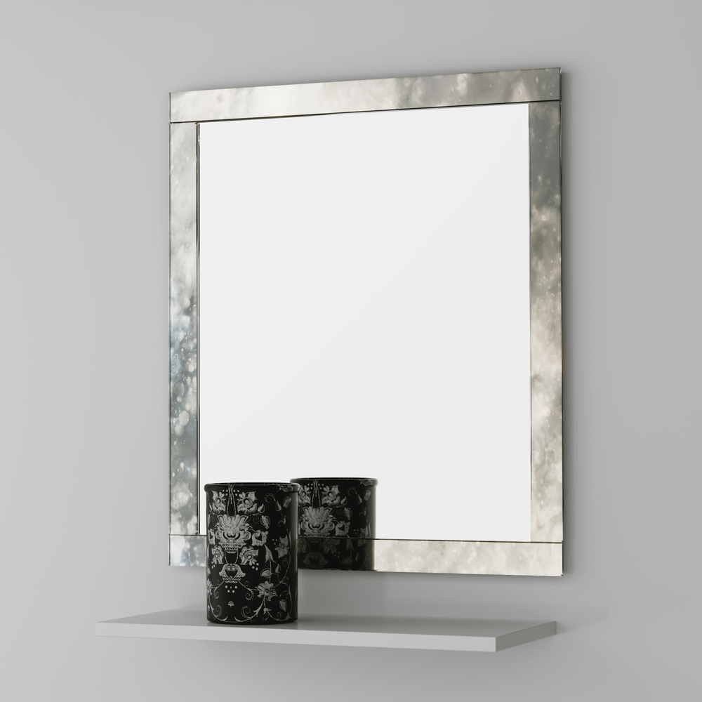 Clear mirror with antiqued sides photographed in our studio