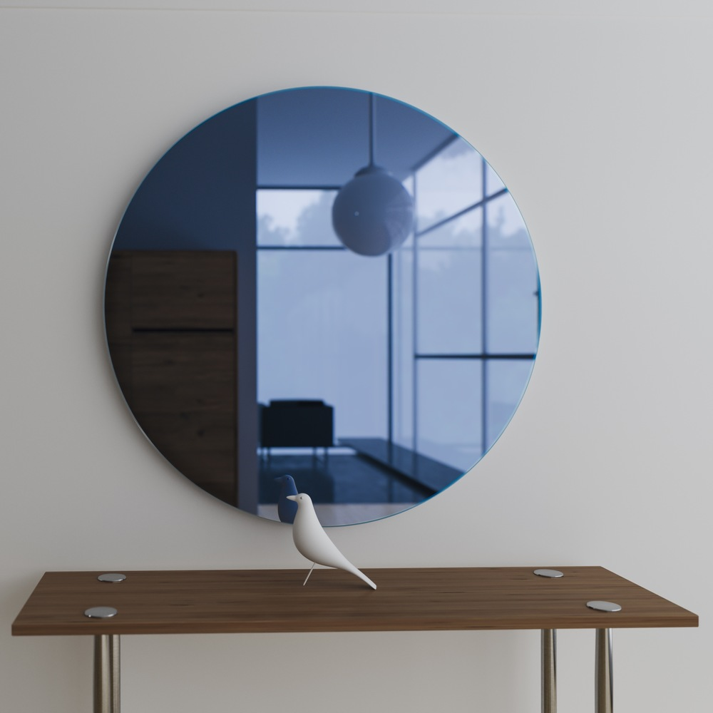 Front view of Round Blue mirror