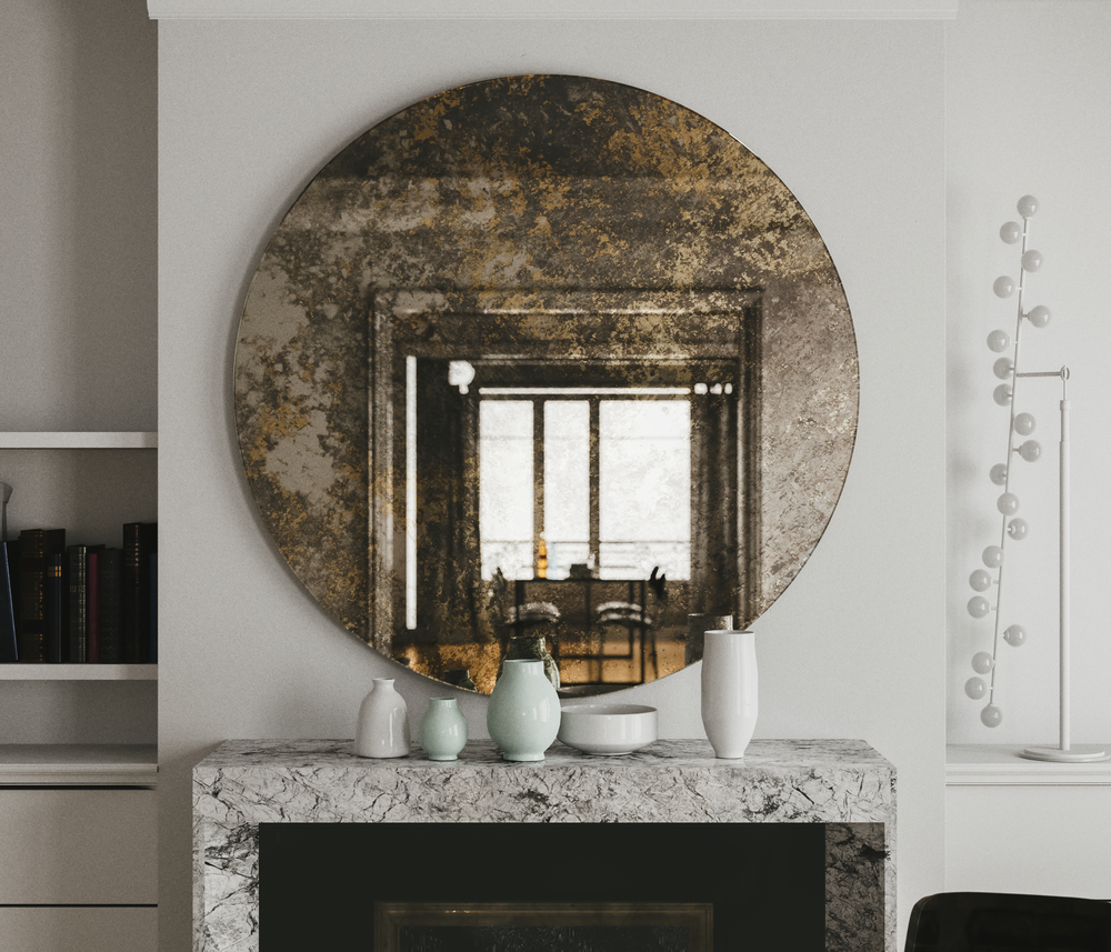 Golden Mirror over fireplace