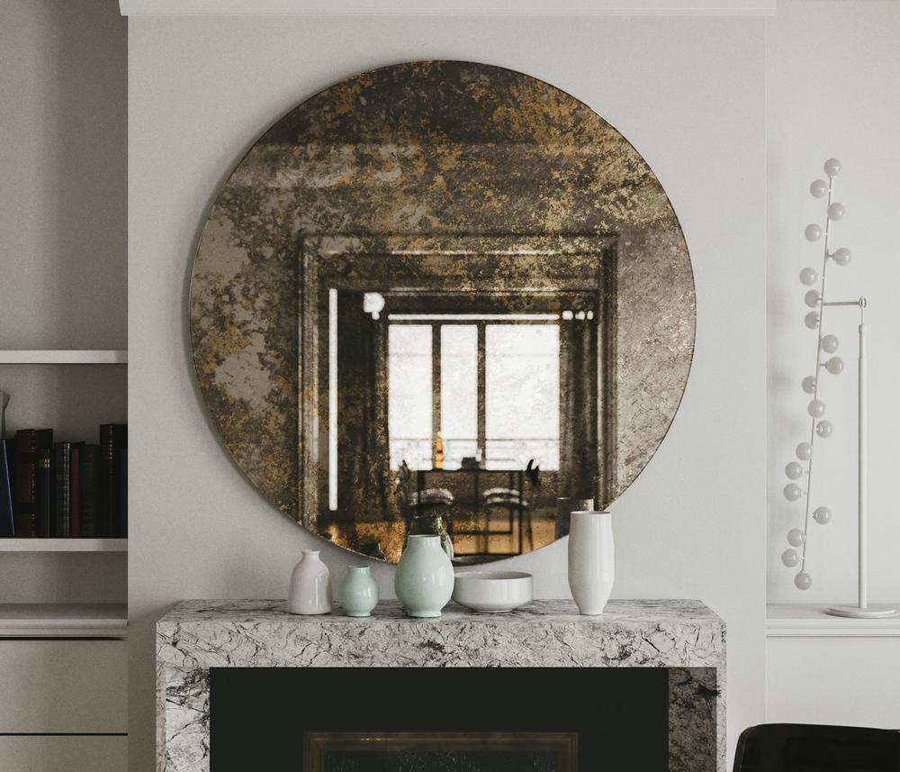Golden Mirror over fireplace