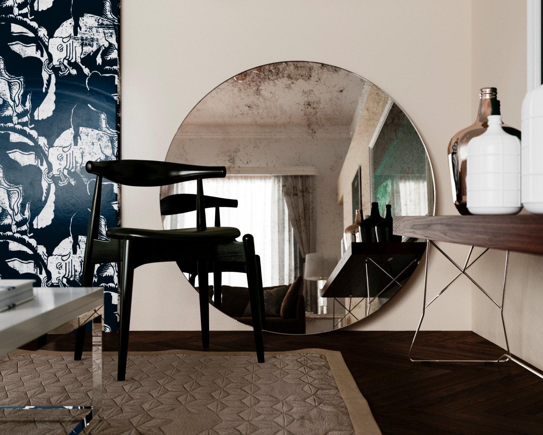 Antiqued Mirror Sitting on Floor in Modern Interior