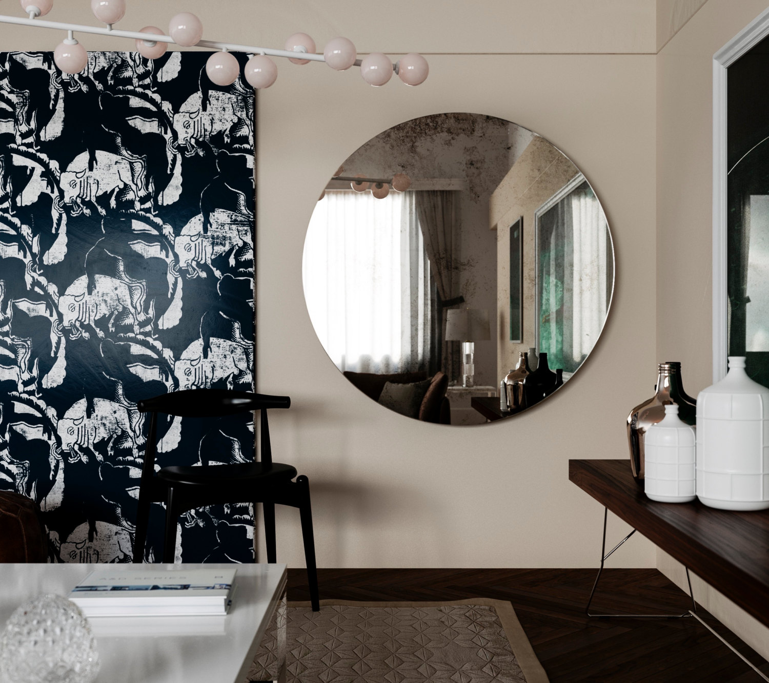 1930s wall mirror | Same Antiqued Mirror hung on Wall