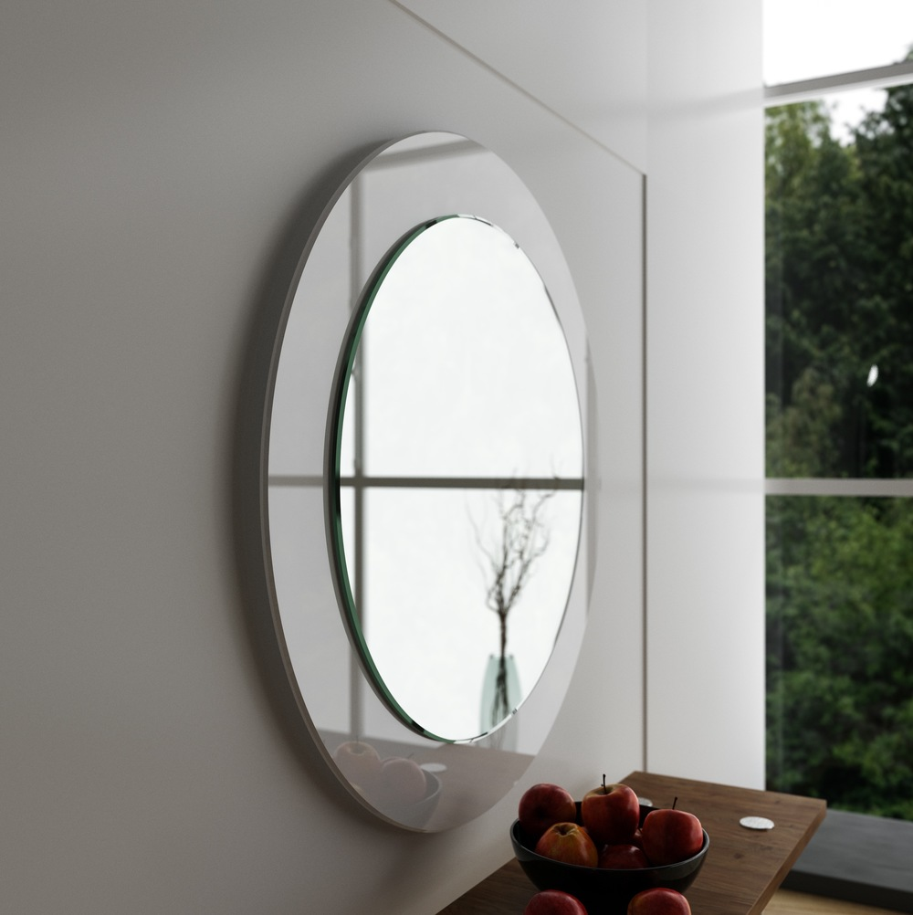 side view of white modern mirror. mirror coop