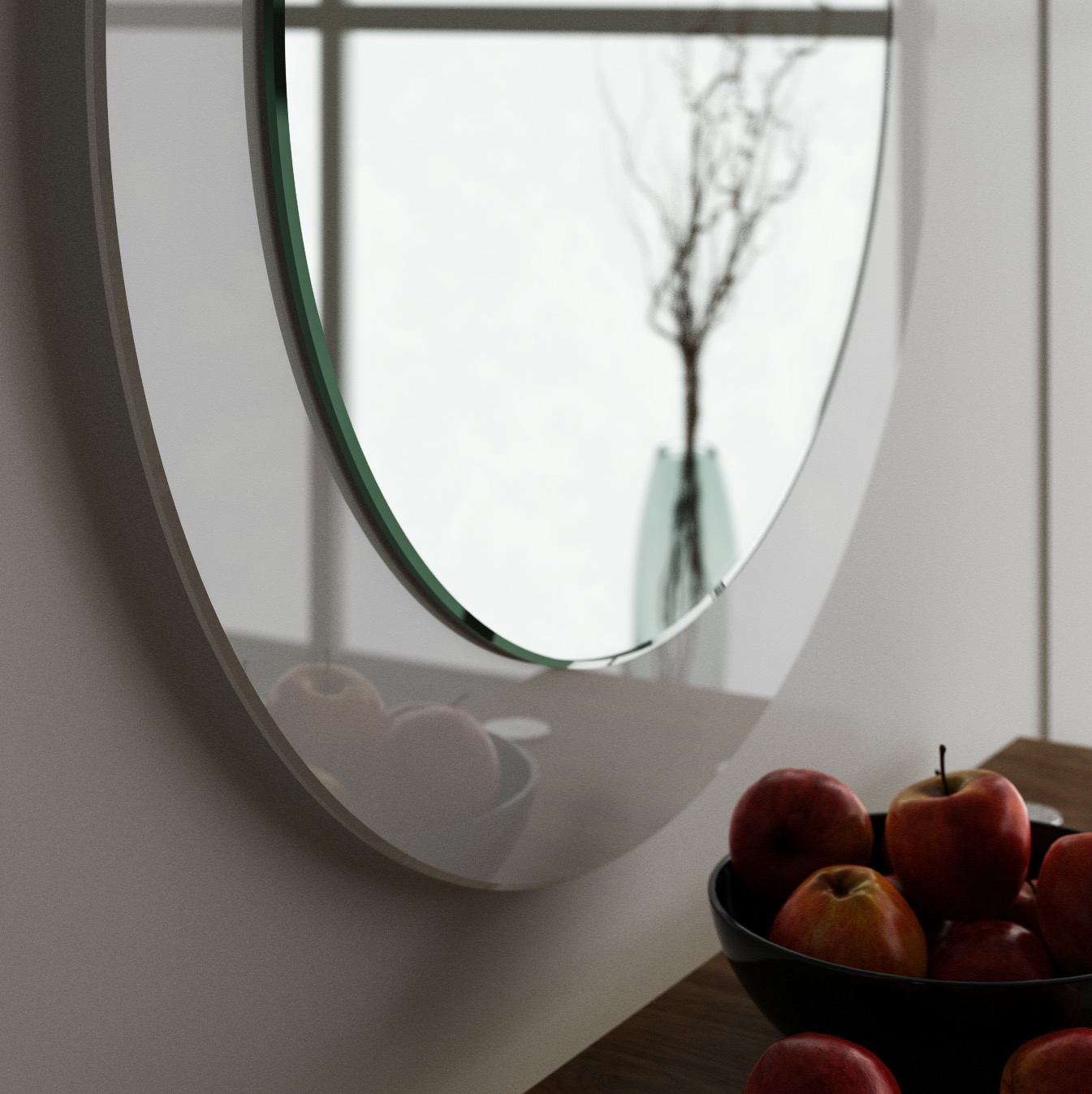 Side view of white glass mirror