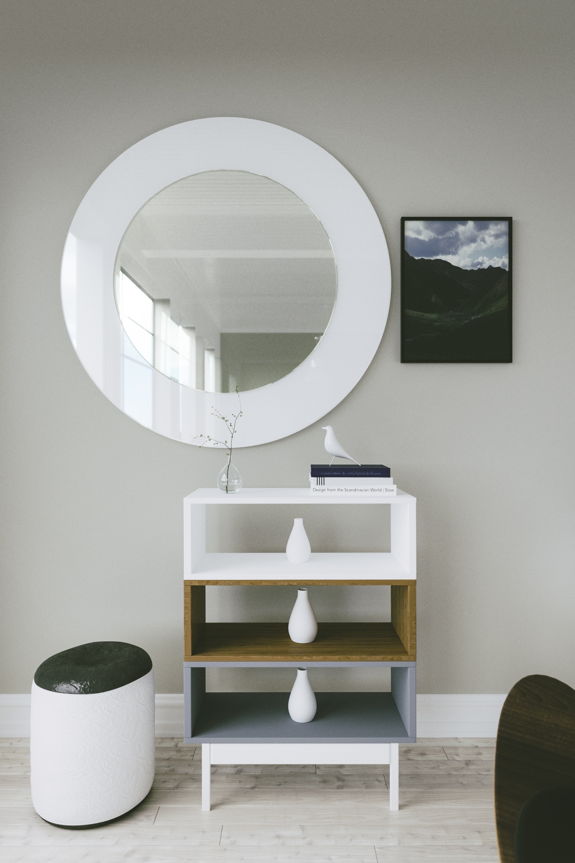 White Mirror photographed in situation