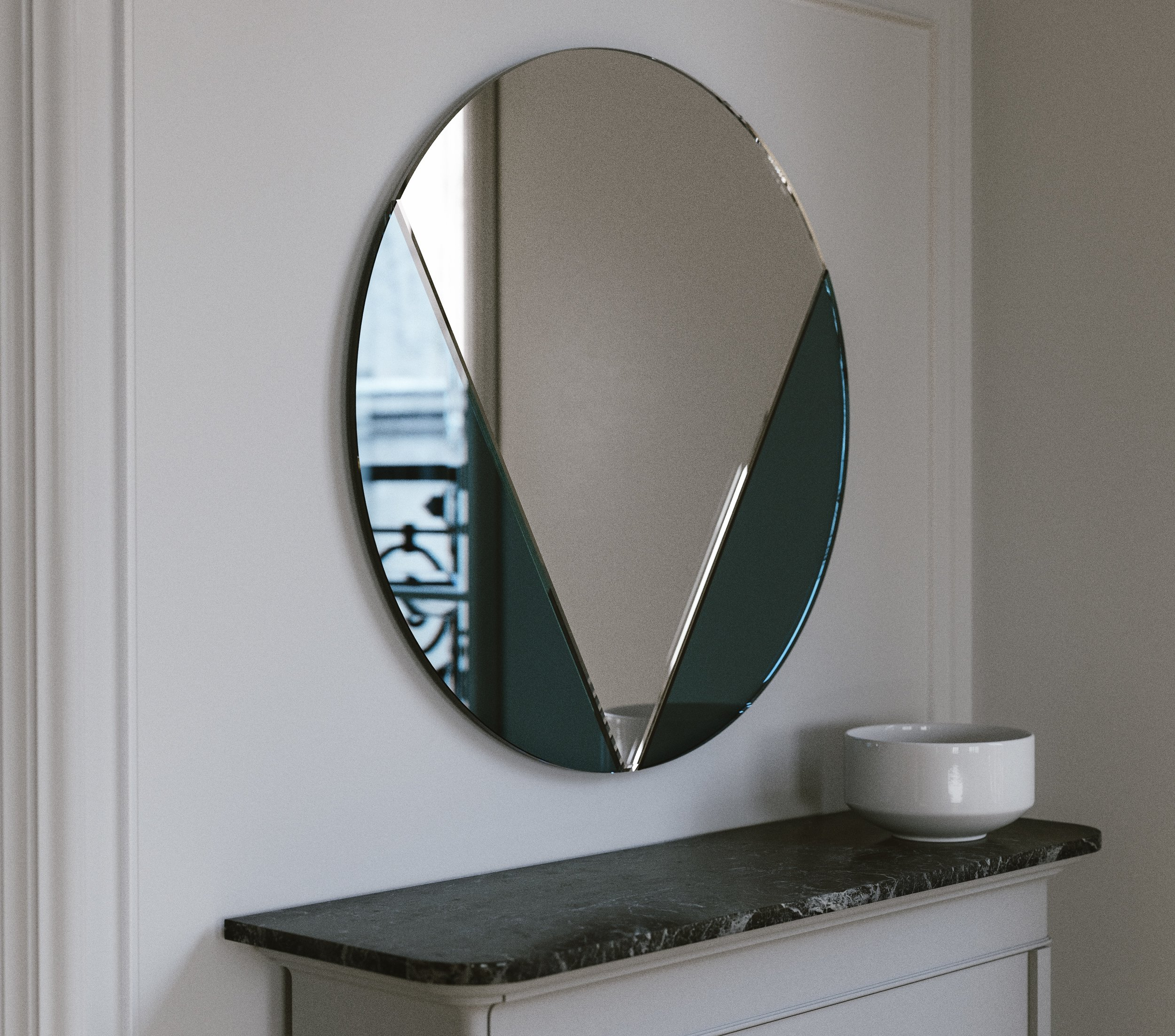 Full View of Blue Art Deco Style Mirror