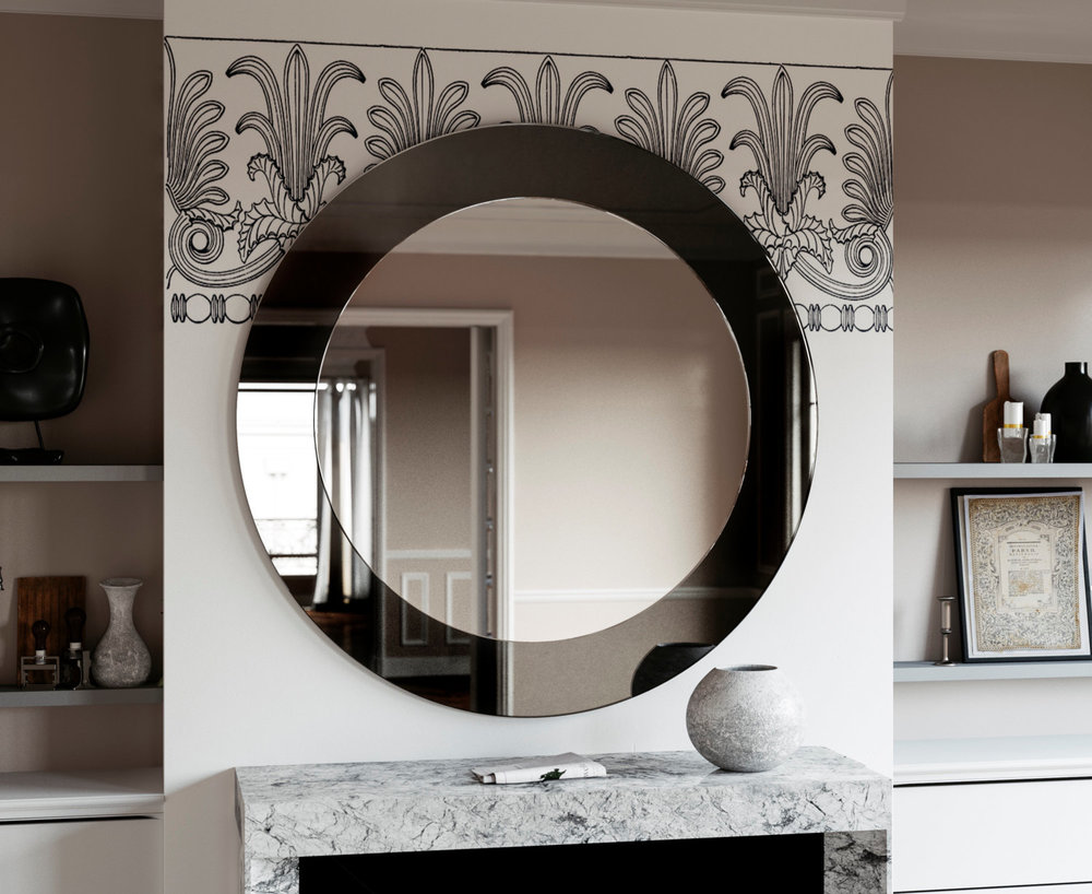 Black Art Deco Mirror photographed in New York City