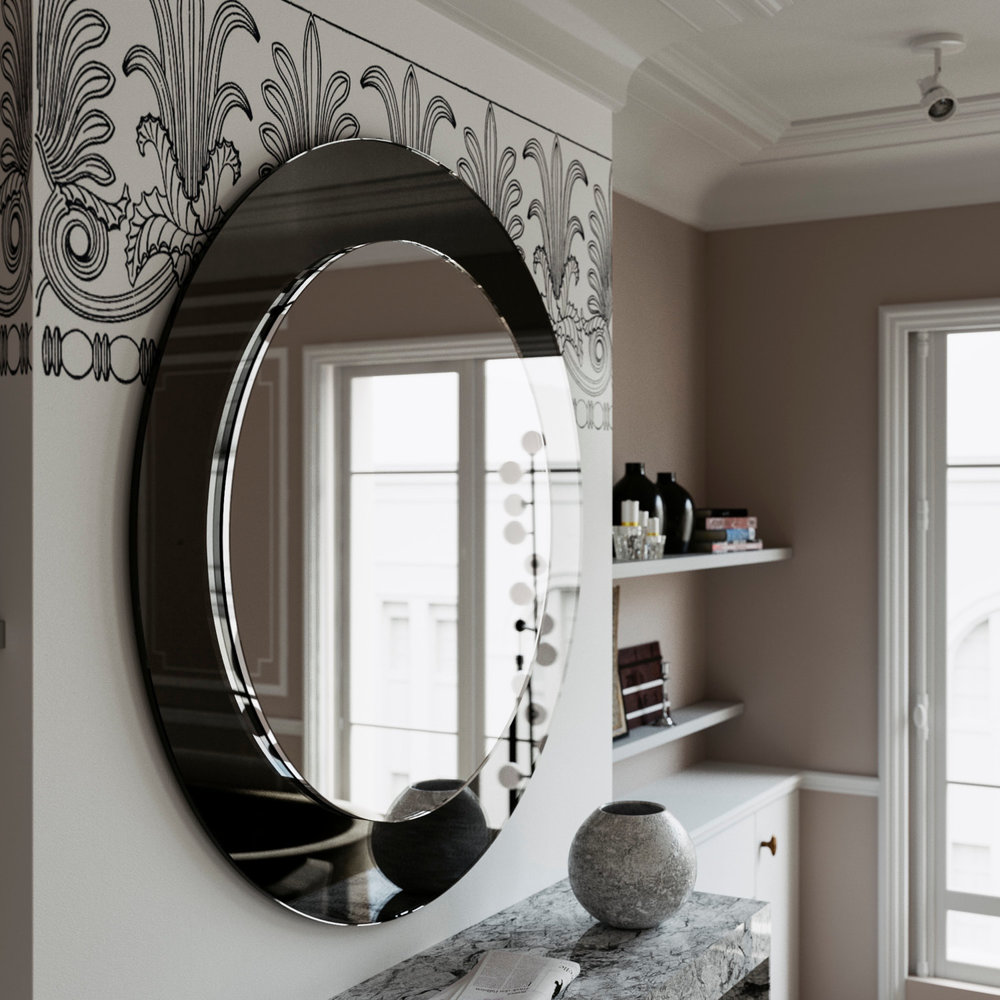 Sideview of Black Round Wall Mirror