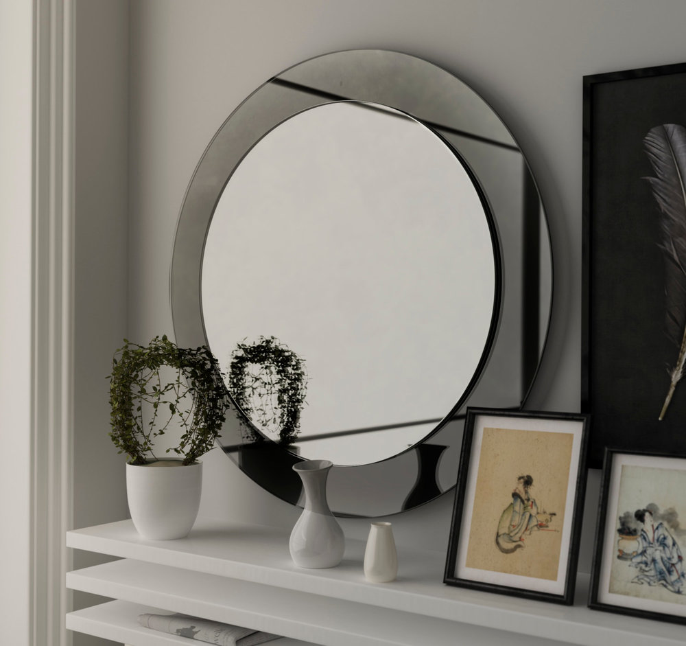 Side view of Black Deco Mirror