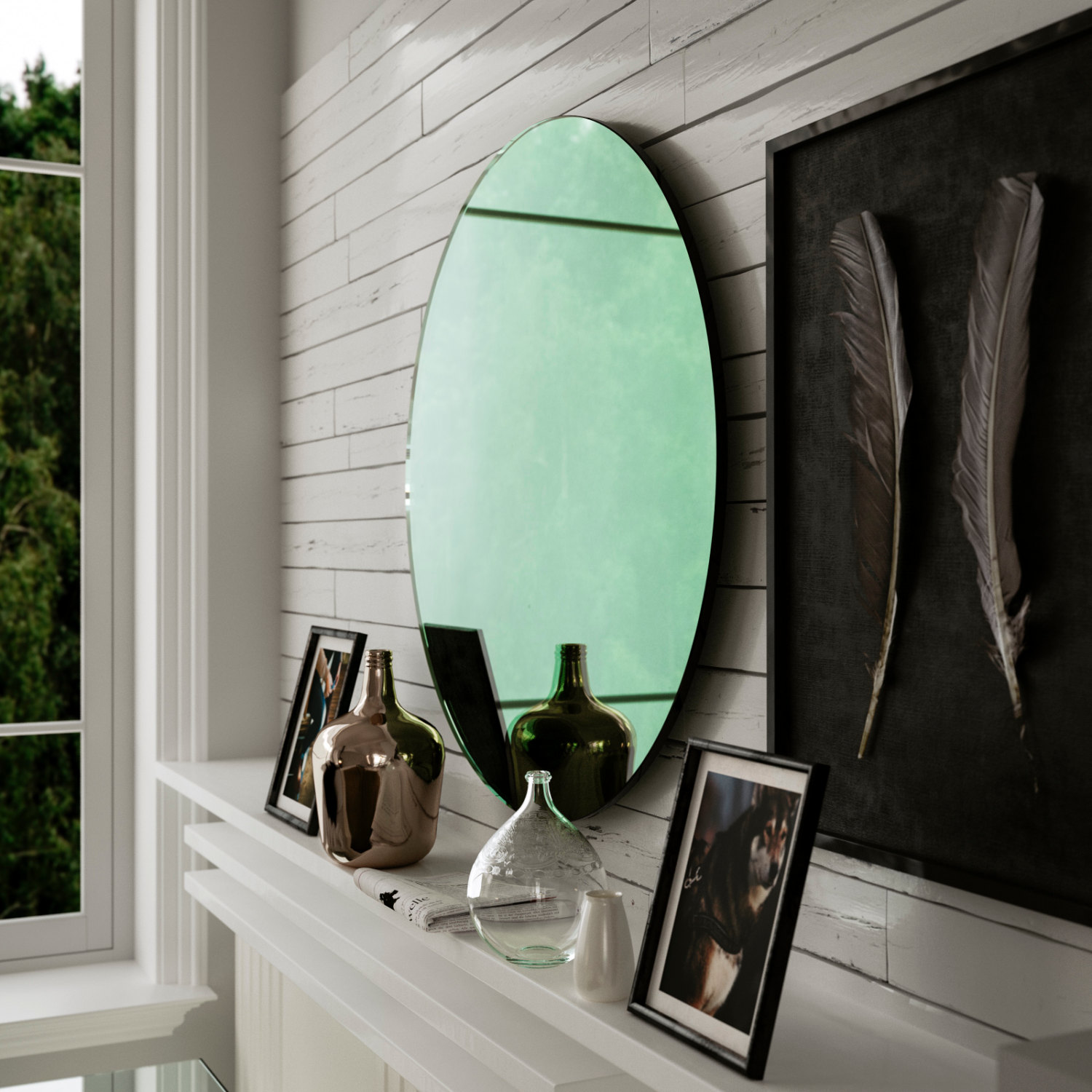 Round Green mirror photographed from the side
