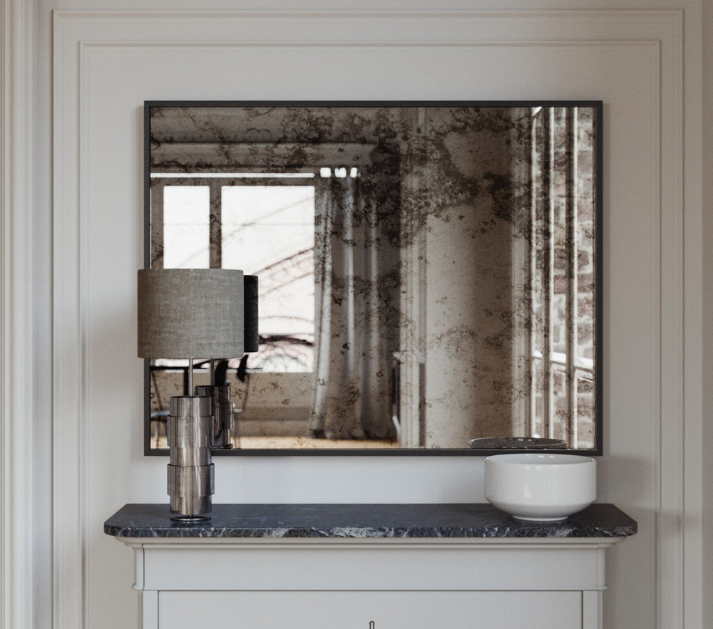 Black Framed Antiqued Mirror