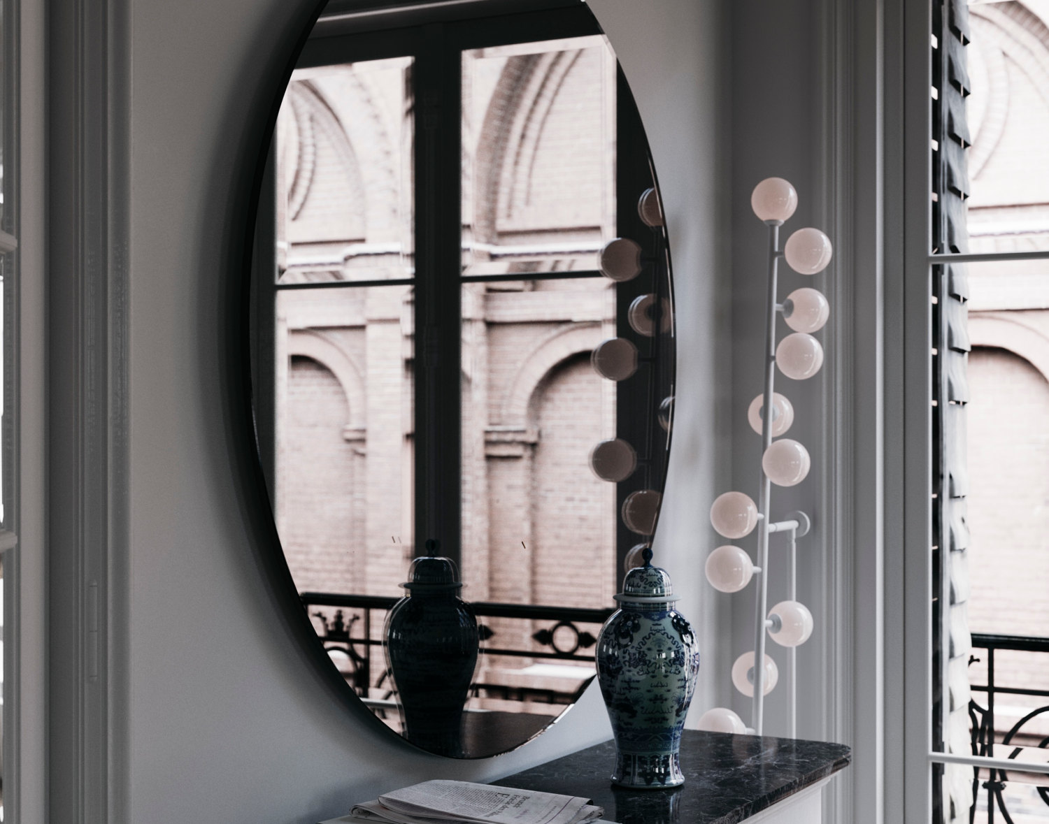 Deco Inspired Wall Mirror Photographed in New York residence