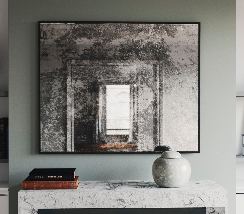 Black Framed Antiqued Mirror photographed in New York City