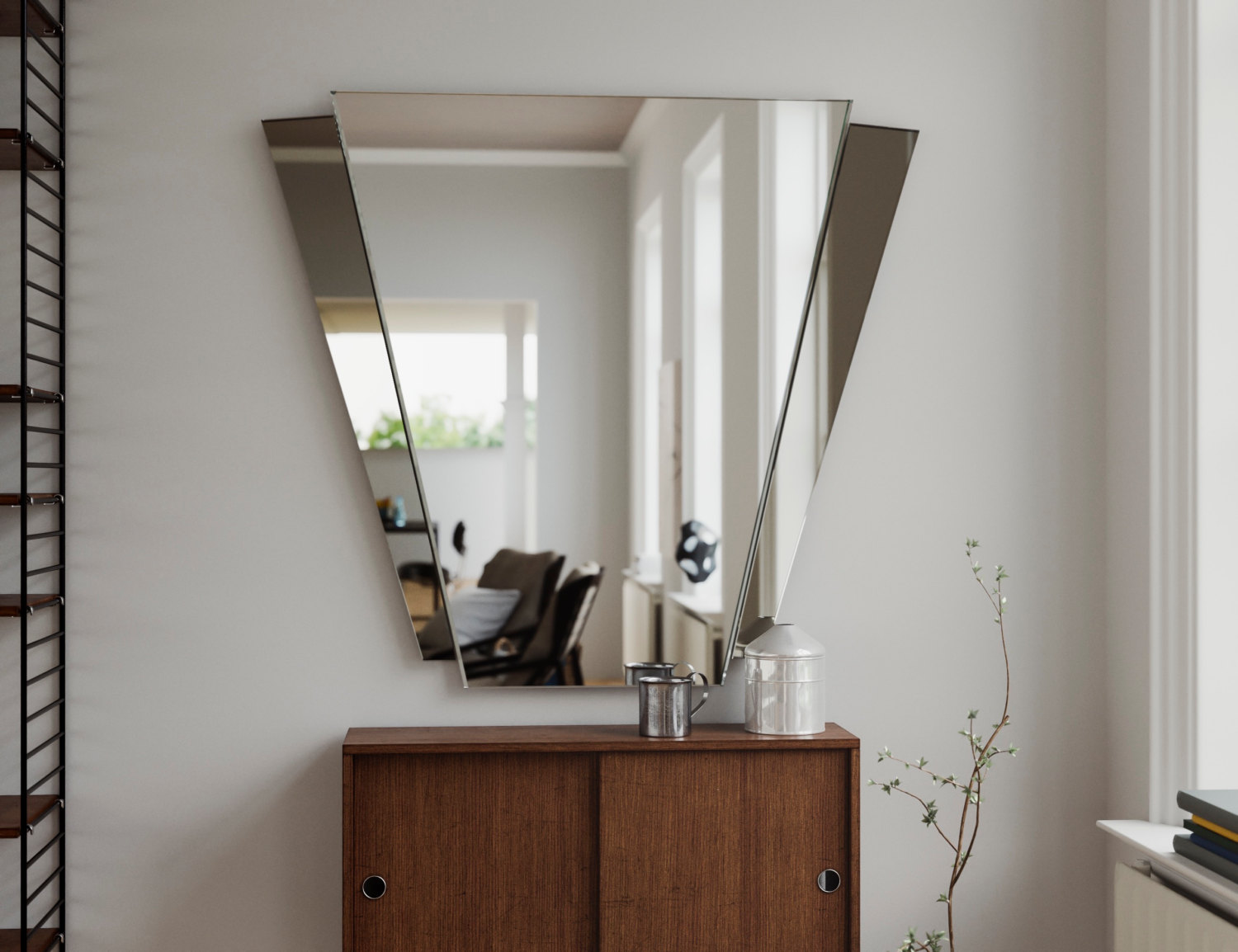 Fantail style wall mirror
