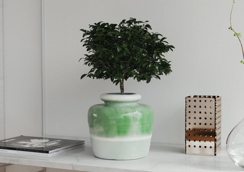 A Glazed Ceramic Planter