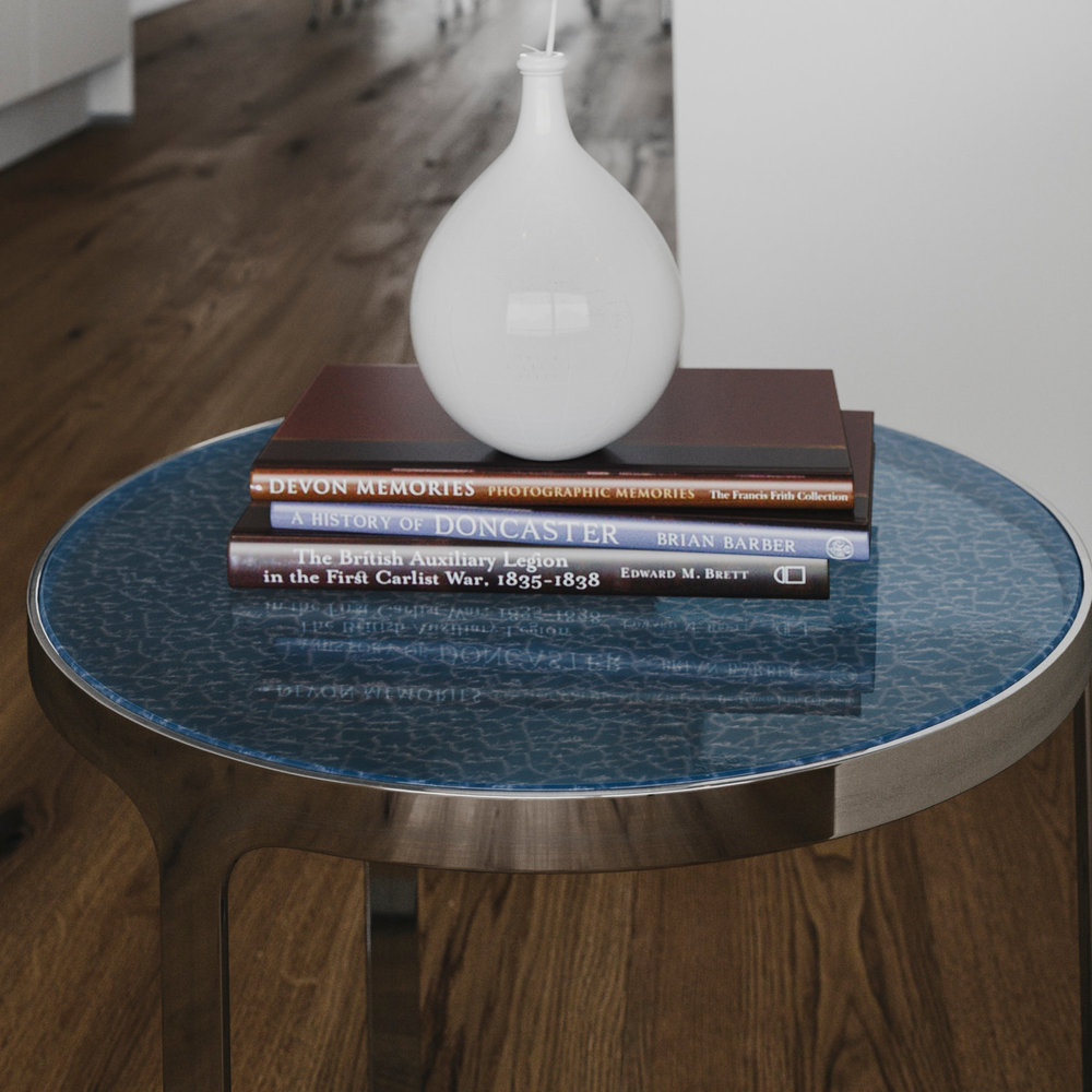 Tight view of chrome endtable