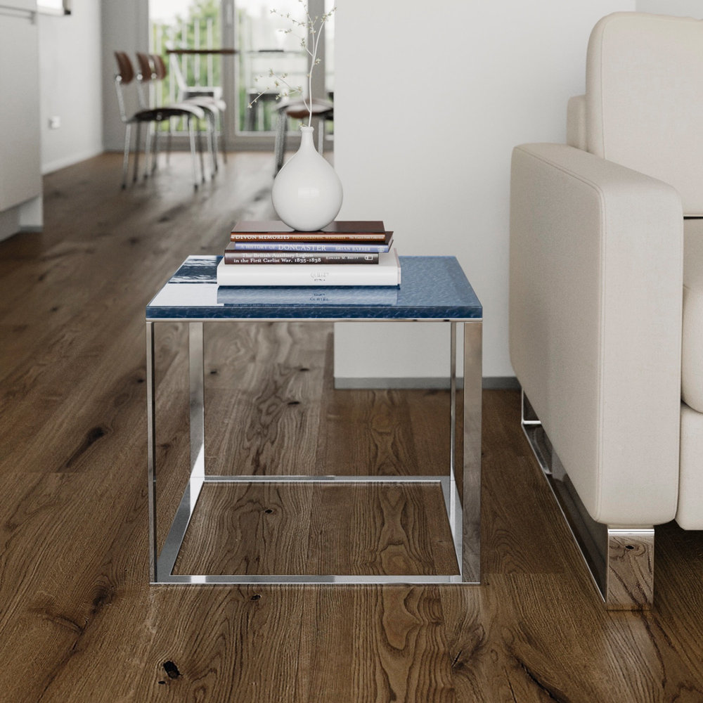 Chrome endtable with blue glass