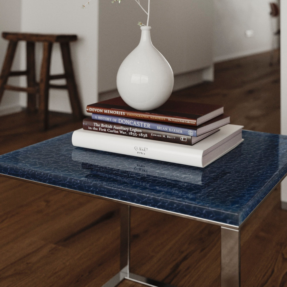tight view of blue table