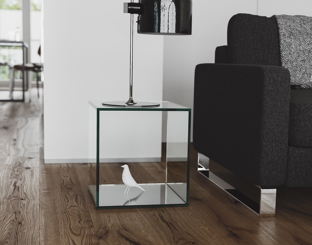 Glass Side Table photographed in situation