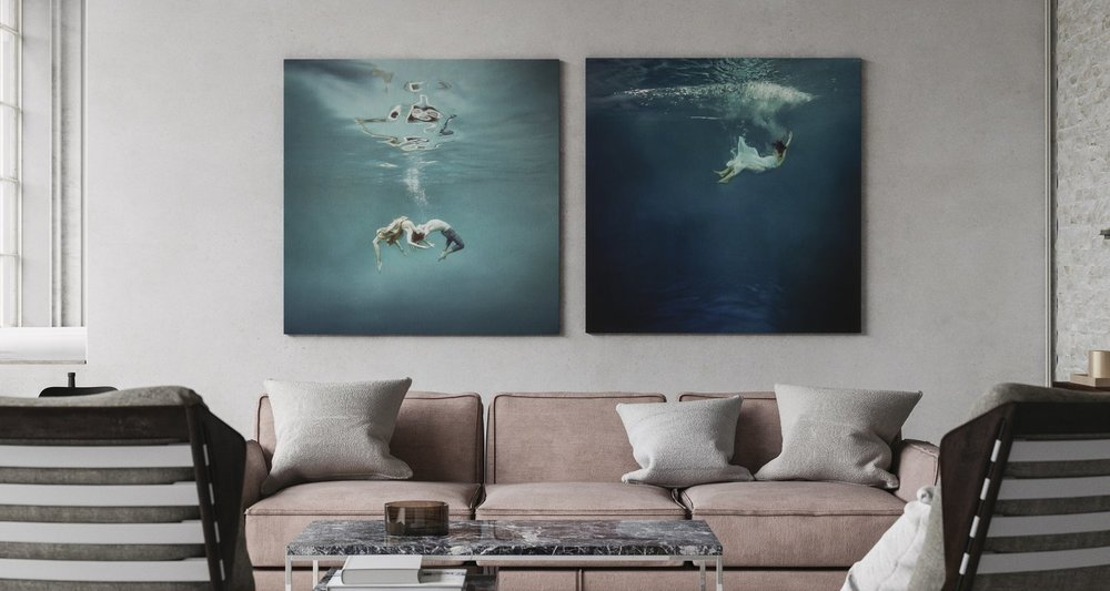 paintings in industrial chic interior