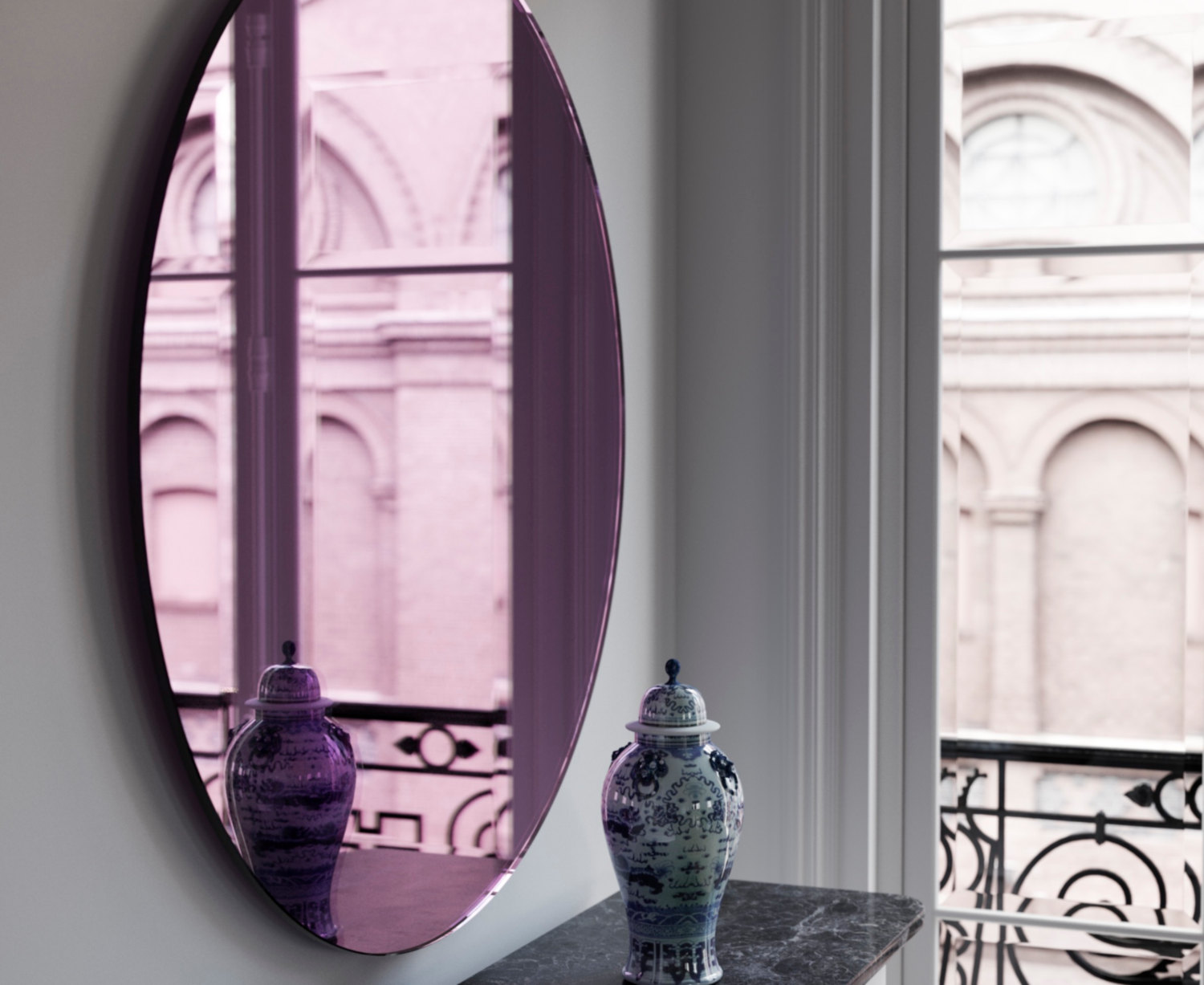 Side view of Pink Mirror