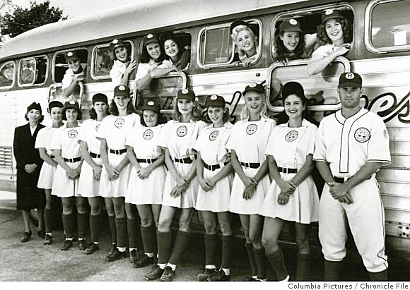 The Rockford Peaches!  (We are the members of, the All-American League we come from cities near and far...)