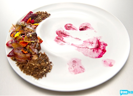 Top Chef season 11 beet plate murder scene.
