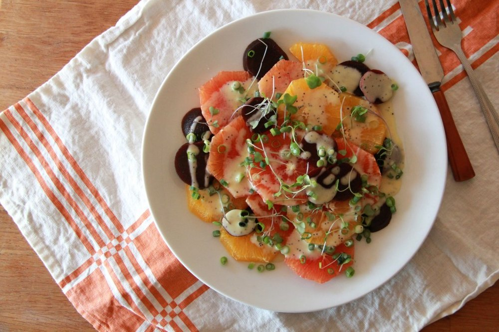 Molly's citrus beet salad with creamy poppyseed dressing