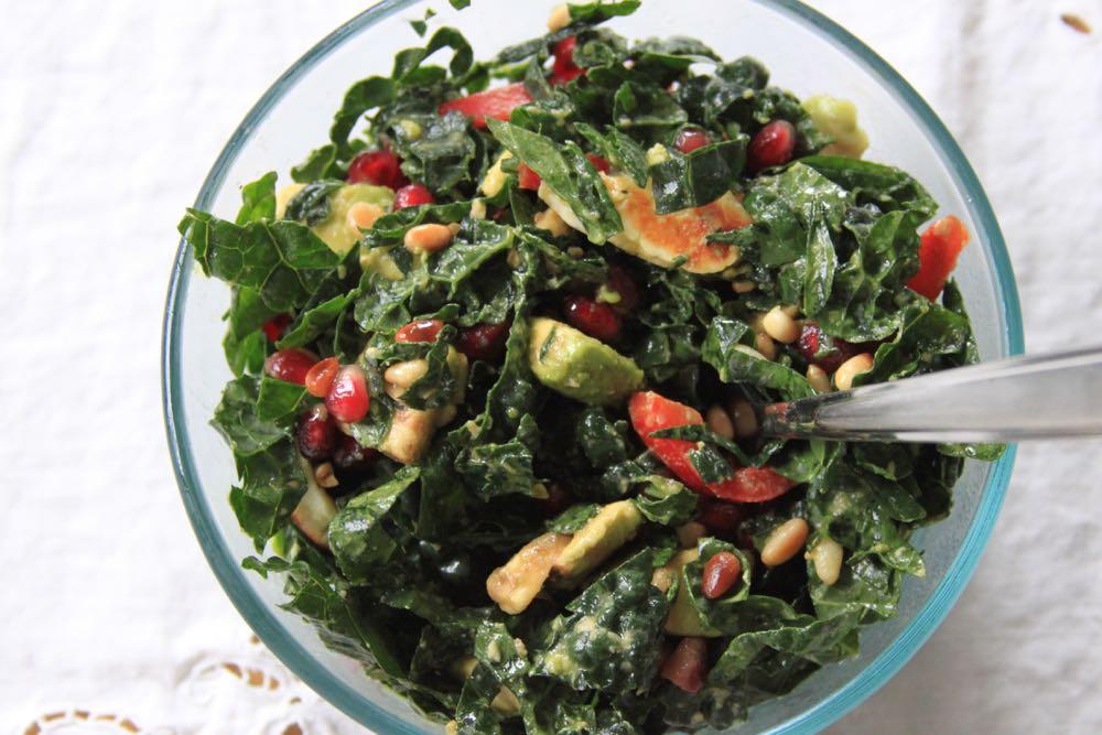 Sarah's Winter Kale Salad with Grilled Halloumi
