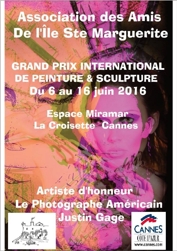 "June 2016 ""Artiste d'honneur""Expo at the international painting and sculpting awards on the Croisette in Cannes"