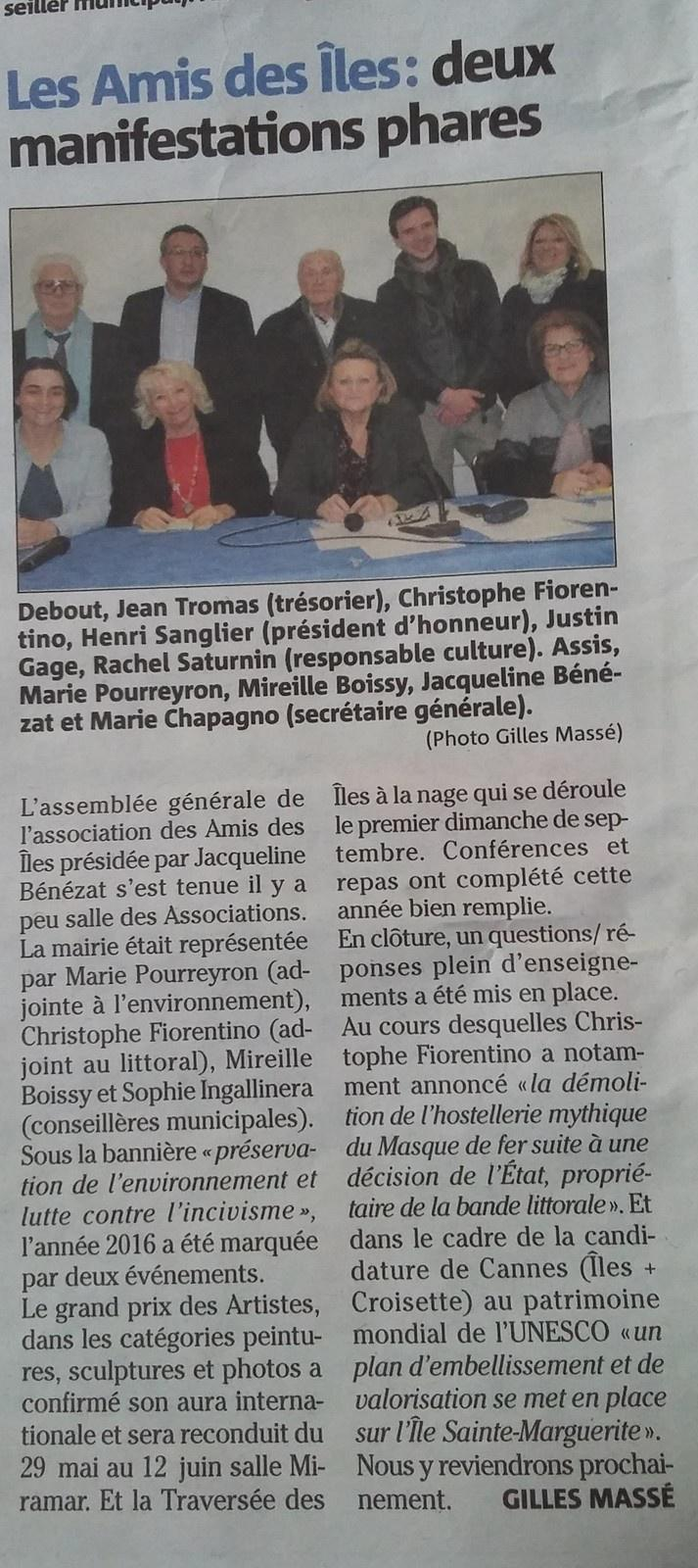 Nice Matin Feb 2017, on the podium with elected officials for Cannes' portfolio they are presenting to UNESCO