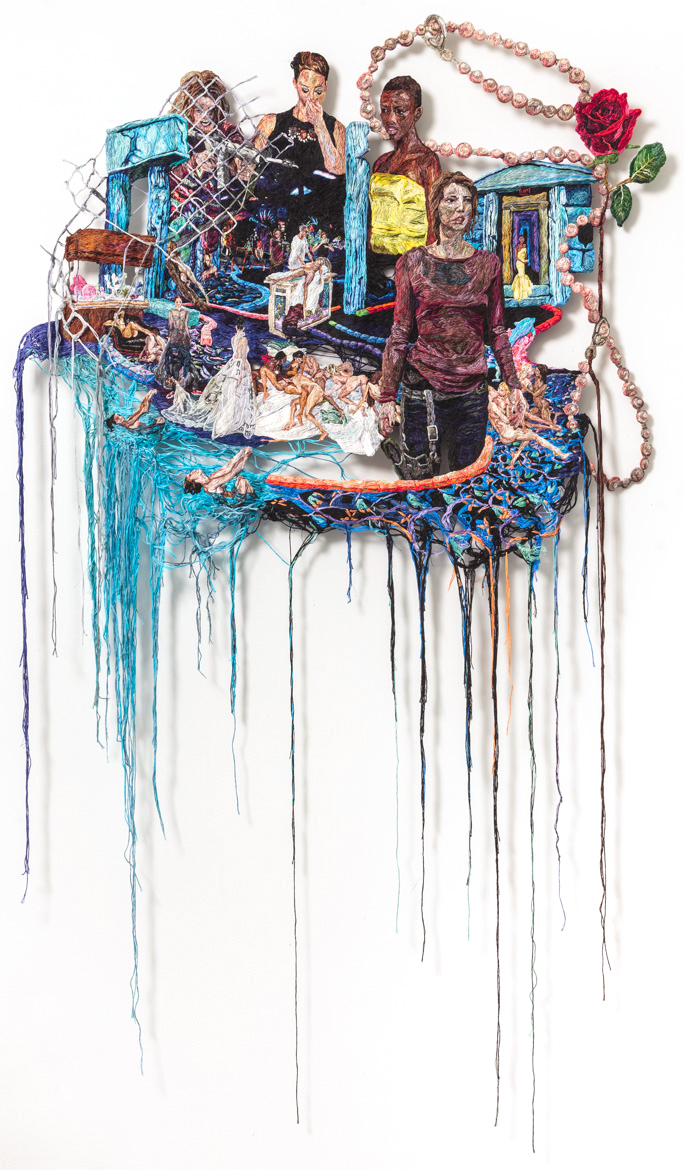 Something Went Wrong, 2014-15, Embroidery Thread and Fabric, 59 x 35 in.