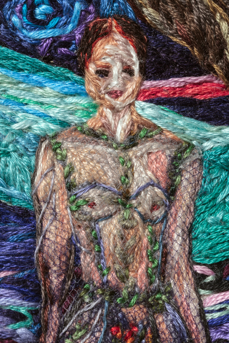 Something Went Wrong (detail), 2014-15, Embroidery Thread and Fabric, 59 x 35 in