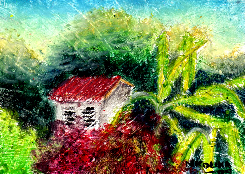 "Lone House, Oil Pastel on Paper, 2.5"" x 3.5""."