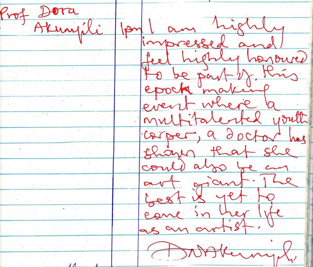 Testimonial for Nkolika Anyabolu by Late Prof Dora Akunyili