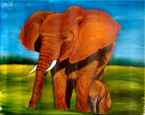 Oil Painting of an Elephant by Nkolika Anyabolu